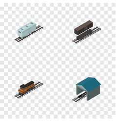 Isometric wagon set of delivery tank depot train vector