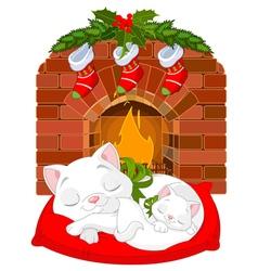 Kitten near fireplace vector