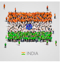 large group of people in the india flag shape vector image