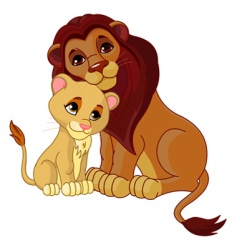 lion and cub together vector image