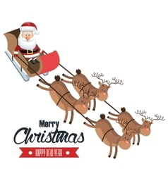 merry christmas and happy new year santa flying vector image vector image