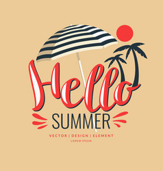 poster in flat style lettering hello summer vector image vector image