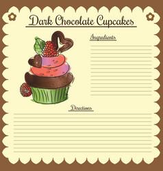Recipe dark chocolate cupcake vector