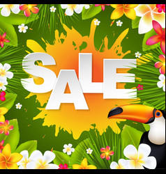 Sale banner with frangipani vector