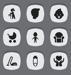 set of 9 editable relatives icons includes vector image vector image