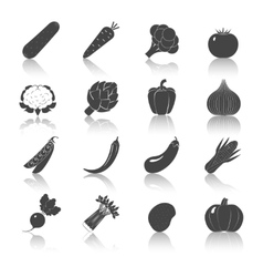 Vegetables black icons set vector