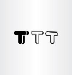 Letter t black icon set elements design vector