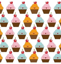 Sweet cake character icon vector