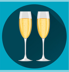Two champagne glasses on dark blue round vector
