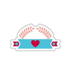 Paper sticker on white background ribbon heart vector