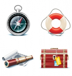 marine travel icons vector image