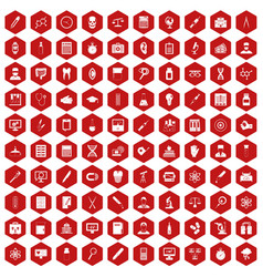 100 lab icons hexagon red vector