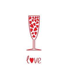 Champagne glass with hearts inside card vector