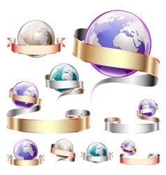 Icons planets with ribbon vector