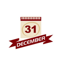 31 december calendar with ribbon vector