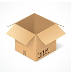 Opened cardboard box isolated on white vector image