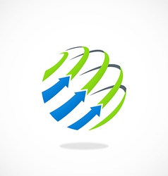 globe arrow business sphere line logo vector image