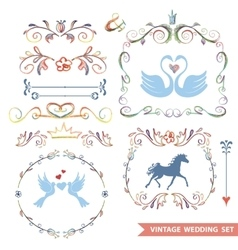 Cute retro floral set with wedding iconsdoodle vector