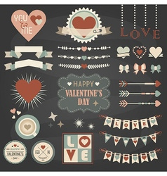 Valentines day design and decoration elements set vector