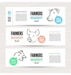 Farmers banner with animals vector image
