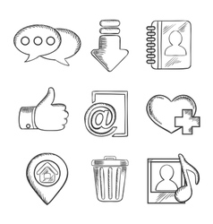 Multimedia and social media sketched icons vector