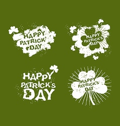 Patricks day set logo clover and rays of grunge vector