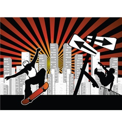 Urban background with skaters vector
