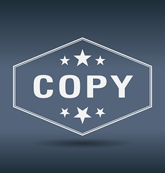 Copy hexagonal white vintage retro style label vector