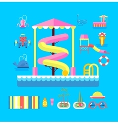 set elements water park vector image
