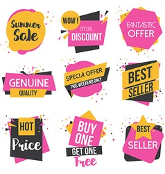Flat design origami Labels vector image