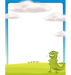 A chameleon standing on a field vector image