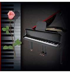 abstract grunge music background with red rose and vector image