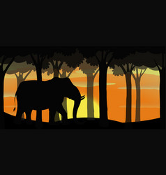 Background scene with silhouette elephant in vector