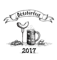 Beer wooden mug with sausage sketch oktoberfest vector