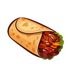 Burrito element of restaurant menu or eatery vector