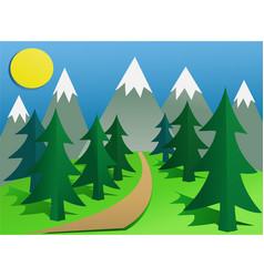 cartoon mountain landscape vector image vector image
