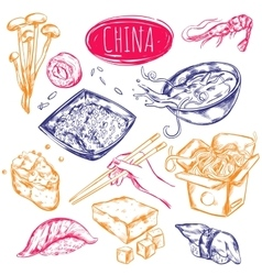 China Food Sketch Set vector image vector image