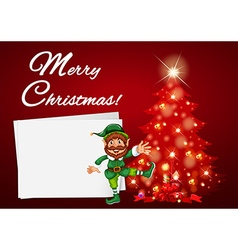 Christmas card with elf and red tree vector