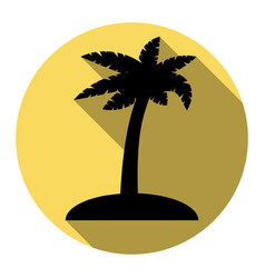 coconut palm tree sign flat black icon vector image vector image