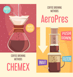 Coffee brewing methods vertical banners vector
