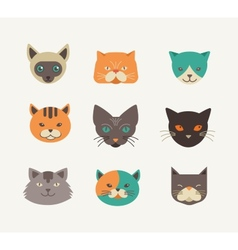 Collection of cat icons and vector image vector image