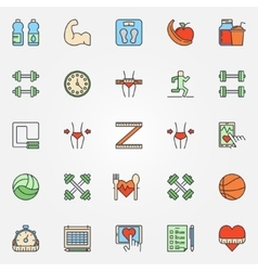 Colorful fitness line icons set vector image