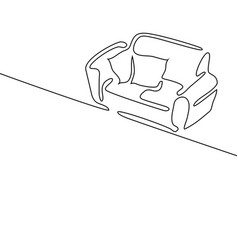 Continuous line drawing interior with sofa vector