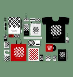 Corporate flat mock-up template geometric fabric vector