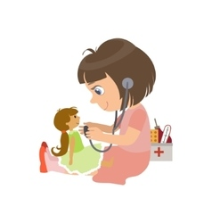 Girl playing with a doll vector
