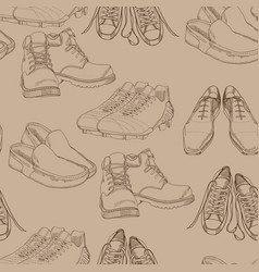 Hand drawn seamles pattern men footwear casual vector