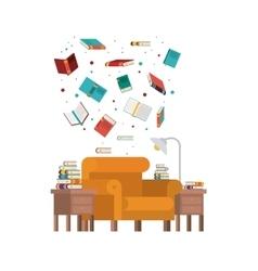 Livingroom library design vector