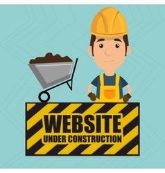 Man website under construction avatar vector