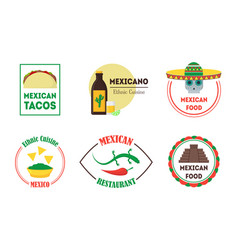Mexican food badges or labels set vector