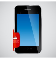 Mobile phone with red label vector
